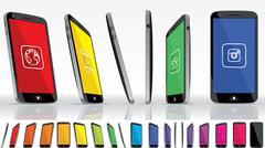 Black Smart Phone - Multiple Views Stock Illustration