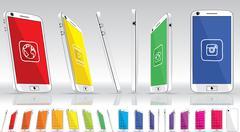 White  Smart Phone - Multiple Views - stock illustration