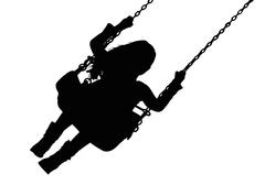 Silhouette of small girl on amusement park swing Stock Illustration