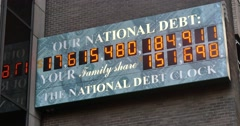 Stock Video Footage of 4K National Debt Clock Establishing Shot