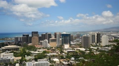pan, downtown honolulu from punchbowl cemetary, oahu, hawaii. - stock footage
