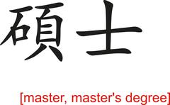 Chinese Sign for master, master's degree Stock Illustration