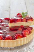 homemade strawberry cake - stock photo