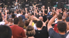 clap hands concert crowd  on music festival,summer fun teenage and dancing music - stock footage