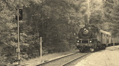 Old steam locomotive is passing by Stock Footage