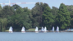Boating scene illustration, people on sailboats training together nice lake view Stock Footage