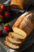 homemade pound cake with strawberries - stock photo