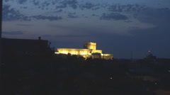 Bucharest city landmark, Parliament building in full dark night, well lighted  Stock Footage