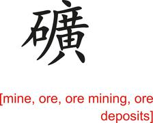 Chinese Sign for mine, ore, ore mining, ore deposits - stock illustration