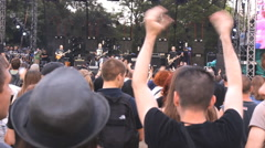jump concert crowd  on music festival,summer fun teenage and dancing music - stock footage