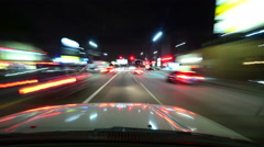 4K Driving Hyperlapse 13 Los Angeles Night Cityscape 2014 - stock footage