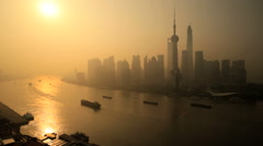 Shanghai Financial District Sunrise Oriental Pearl Tower China Stock Footage