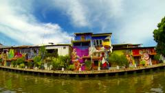 Melaka river boat ride. Malaysia, June 2014. Speed up. - stock footage