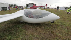 Civil futuristic plane parked Stock Footage