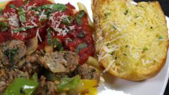 Italian Sausage, Toast, Pasta Stock Footage