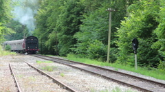 Old steam locomotive is starting Stock Footage