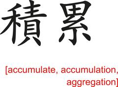Chinese Sign for accumulate, accumulation, aggregation - stock illustration