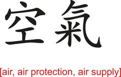 Stock Illustration of Chinese Sign for air, air protection, air supply