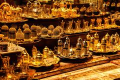 tea sets and turkish coffee service sets - stock photo