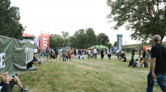 Concert crowd  on music festival,summer fun teenage and dancing music Stock Footage