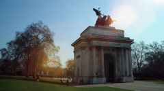 Wellington Arch timelapse at Hyde Park Corner, London 4K version Stock Footage