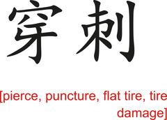 Chinese Sign for pierce, puncture, flat tire, tire damage - stock illustration