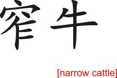 Chinese Sign for narrow cattle - stock illustration