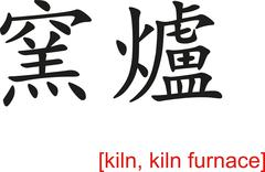 Chinese Sign for kiln, kiln furnace - stock illustration