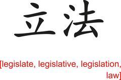 Chinese Sign for legislate, legislative, legislation, law - stock illustration