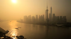 Huangpu River Oriental Pearl Tower Pudong Shanghai China Stock Footage
