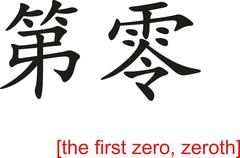 Chinese Sign for the first zero, zeroth Stock Illustration