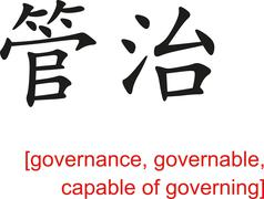 Stock Illustration of Chinese Sign for governance, governable, capable of governing