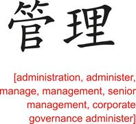 Stock Illustration of Chinese Sign for administration, management, senior management