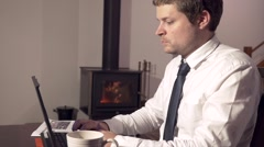 Business Man Working At Home Stock Footage