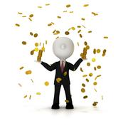 Businessman in the rain of gold coin, clipping path included Stock Illustration