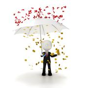Stock Illustration of businessman  protects his business from problems concept, clipping path inclu