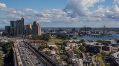Aerial timelapse of Sydney CBD, Observatory Hill and Darling Harbor Stock Footage