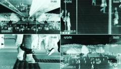 Split screen security camera view. observation surveillance. people persons Stock Footage