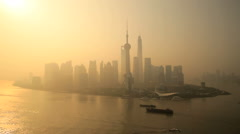 Oriental Pearl Tower, Shanghai Tower, SWFC Building  Huangpu River China - stock footage