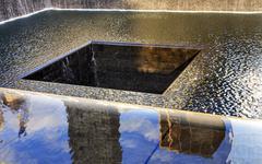 911 memorial pool fountain waterfall new york ny - stock photo
