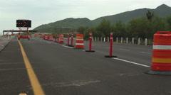 Detour Sign Construction Pylons Long Stock Footage
