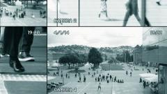 Surveillance monitoring. observation supervision. security camera view. persons Stock Footage