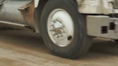 Dump Truck Dirt Road Fast Pan Stock Footage