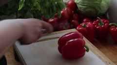 Cutting red pepper Stock Footage
