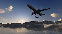plane flying - stock illustration