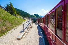 Steam locomotive of a vintage cogwheel railway going to schafberg peak Stock Photos
