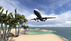 Airliner passing over palm trees Stock Illustration
