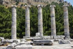 ionic columns temple of athena - stock photo