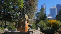 Fountain, Royal Botanic Gardens, Sydney 4k Stock Footage