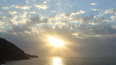 Timelapse sunrise in the mountains. Mountain Meganom, Crimea, Russia Stock Footage